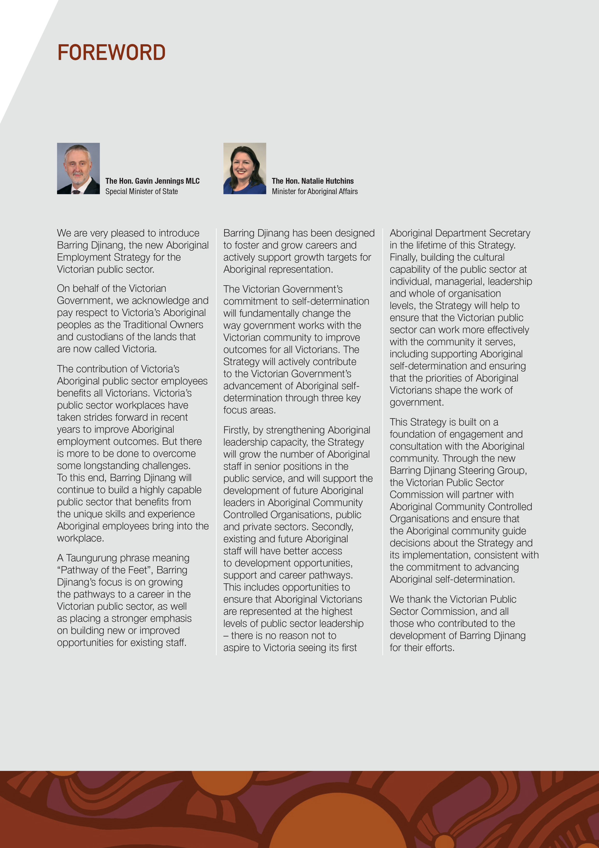 Foreword | Joint statement from The Hon. Gavin Jennings MLC, Special Minister of State and The Hon. Natalie Hutchins, Minister for Aboriginal Affairs