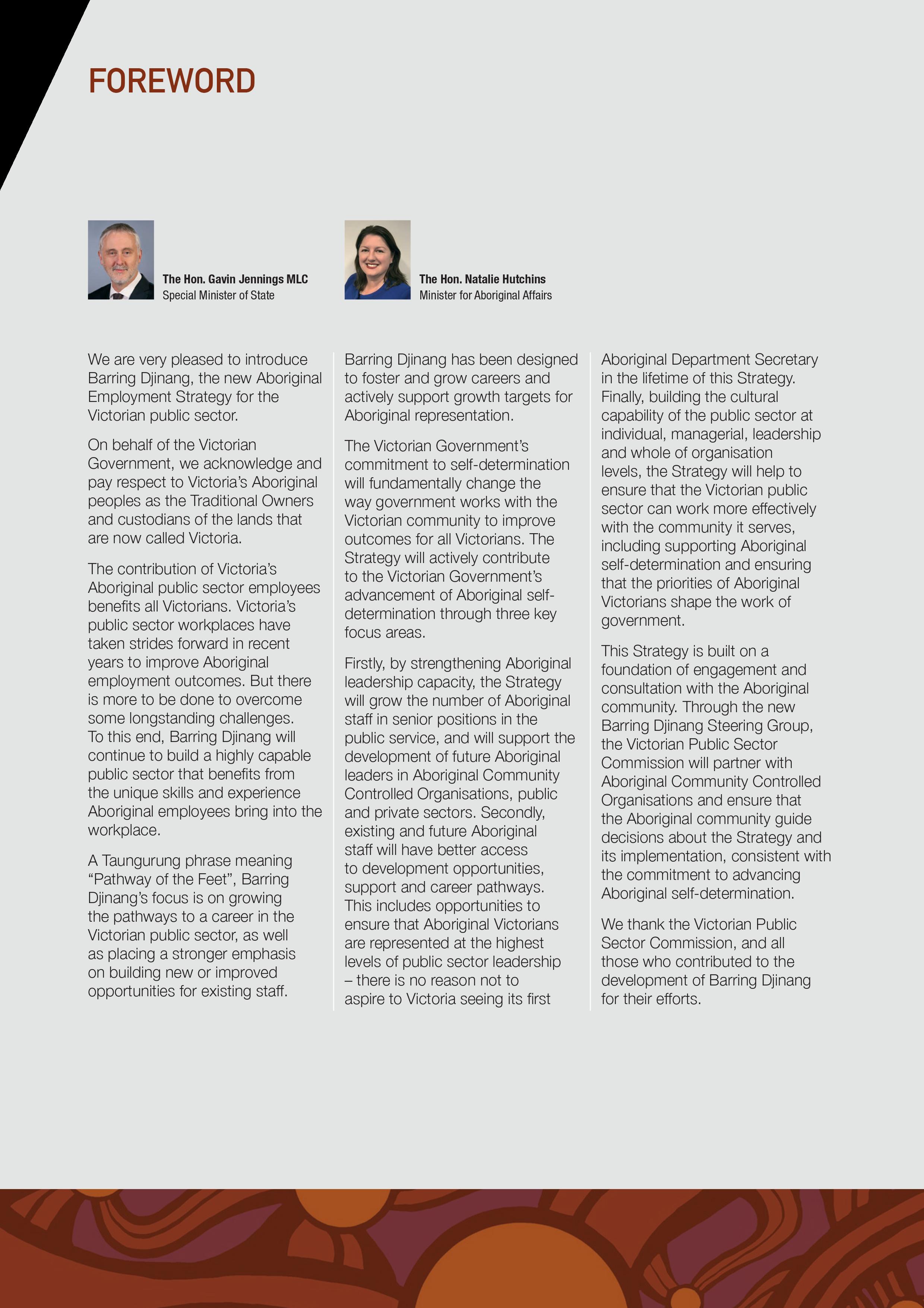 Foreword - Barring Djinang | Strategy Brochure July 2017 - VPSC