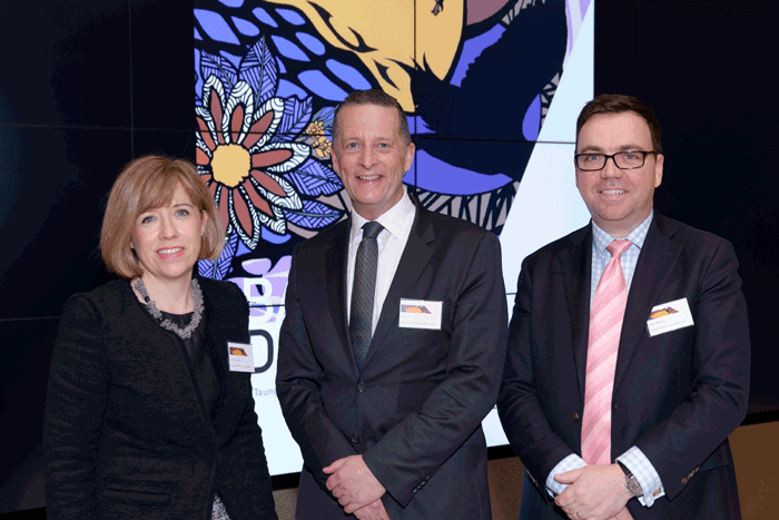 VPSC A/Commissioner Elizabeth Langdon with Chris Eccles, Secretary DPC and Mason Atkinson, AEU Manager