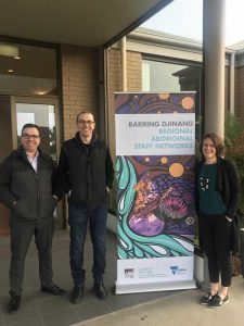 Aboriginal Employment Unit staff Mason Atkinson, Joe Murfet and Karen Hill.
