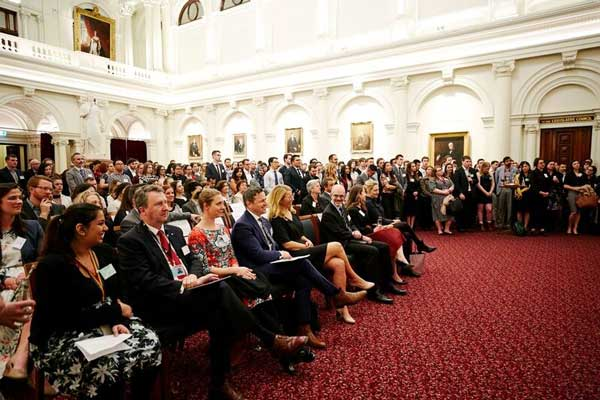 More than 300 guests filled Queen's Hall at Parliament House for the combined anniversary event.