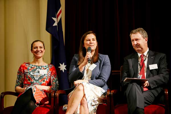 Panellist's discussion featuring Katherine Whetton (Department of Education and Training), Miriam Slattery (City of Melbourne) and Tony Bates (Department of Justice and Regulation) focused on the strength of the alumni network.