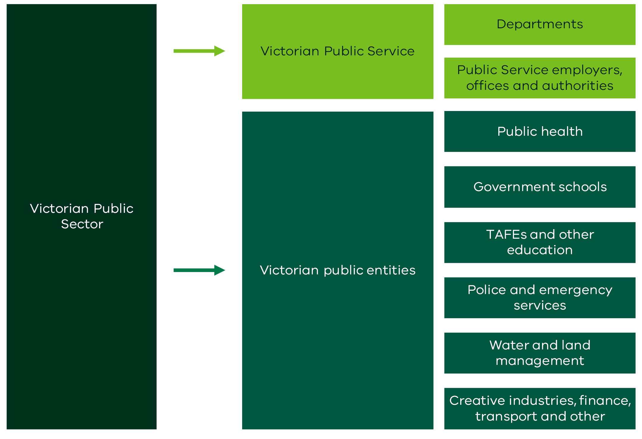 A breakdown of the public sector into its parts of the Victorian Public Service and public entities
